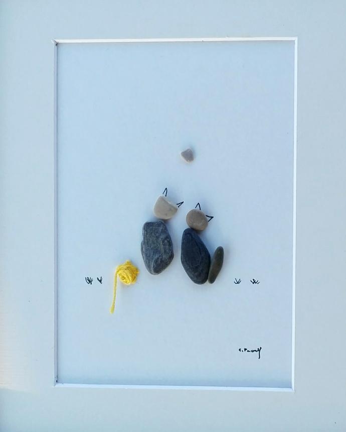 pebble art cats, cats love, pets pebbles, pebble picture pets, pebble art cats,