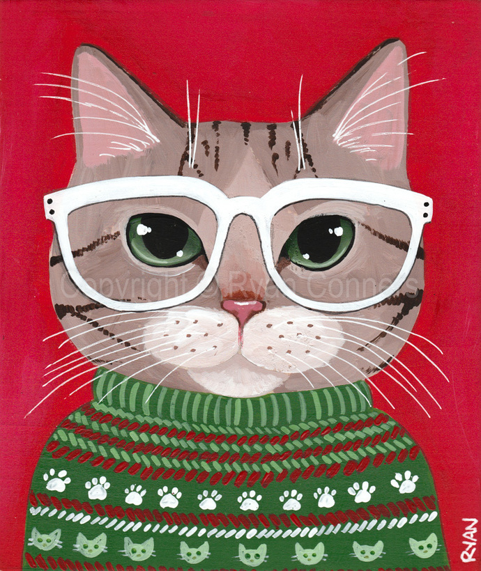 Brown Tabby Kitty Ugly Christmas Sweater Original Cat Folk Art Acrylic Painting