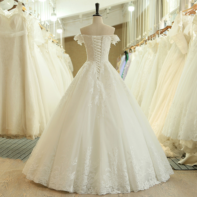 Cold Shoulder Bridal Dresses,Lace Wedding Gowns ,Ball Gown Wedding Dresses