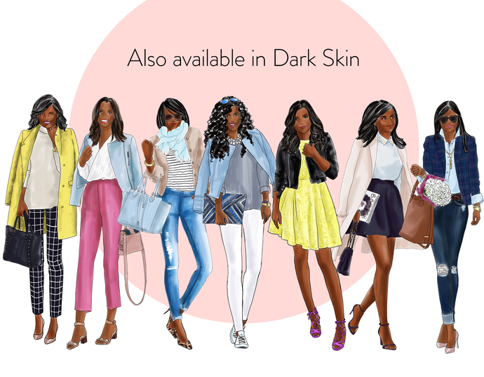 Watercolour fashion illustration clipart - Fashion Girls 21 - Light Skin