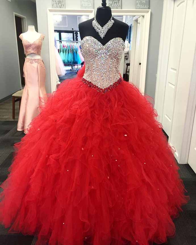 crystal beaded sweetheart organza ruffles ball gowns quinceanera dresses