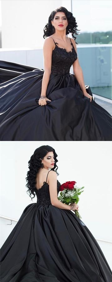 Black Lace Embroidery Prom Dresses,Ball Gowns, V-neck Satin Ball Gowns,Wedding