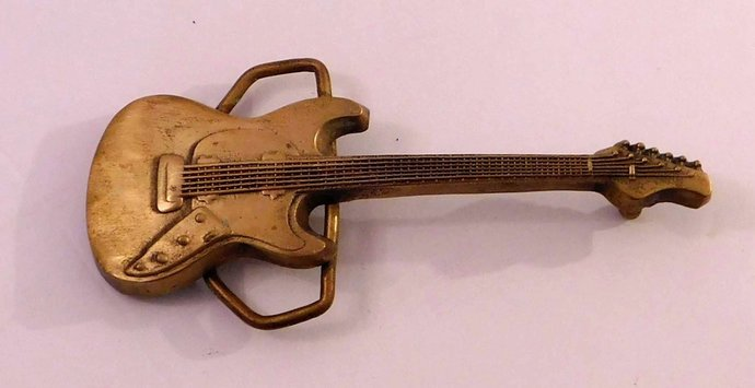 Rare Solid Brass Electric Guitar Belt Buckle Baron 1978