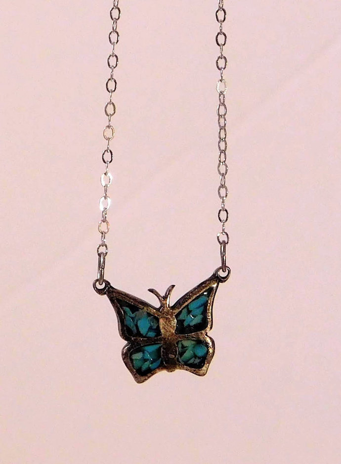 Petite Butterfly Crushed Turquoise Necklace Pendant