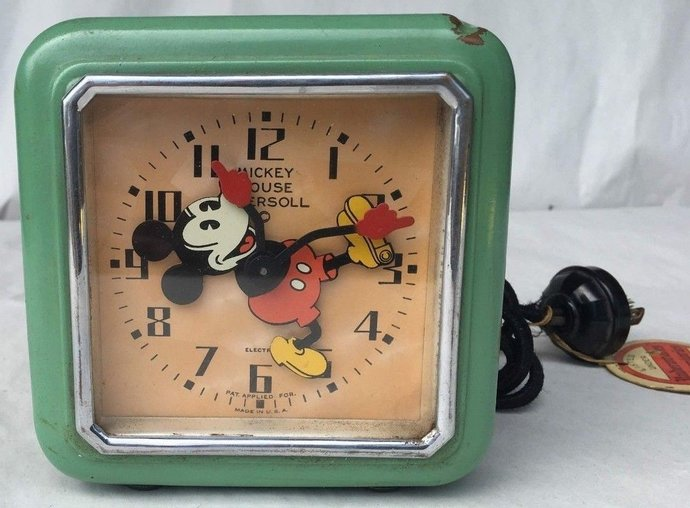 Rare & Famous Ingersoll 1933 Mickey Mouse Tumbler Electric Clock