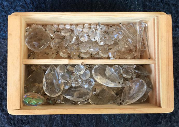 Vintage Clear Chandelier Beads, Glass Teardrops, Prisms