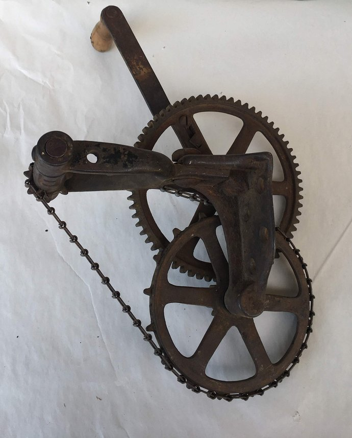 Antique Luther Bros Hand Crank Grinder/Sharpener Chain & Gear Drive