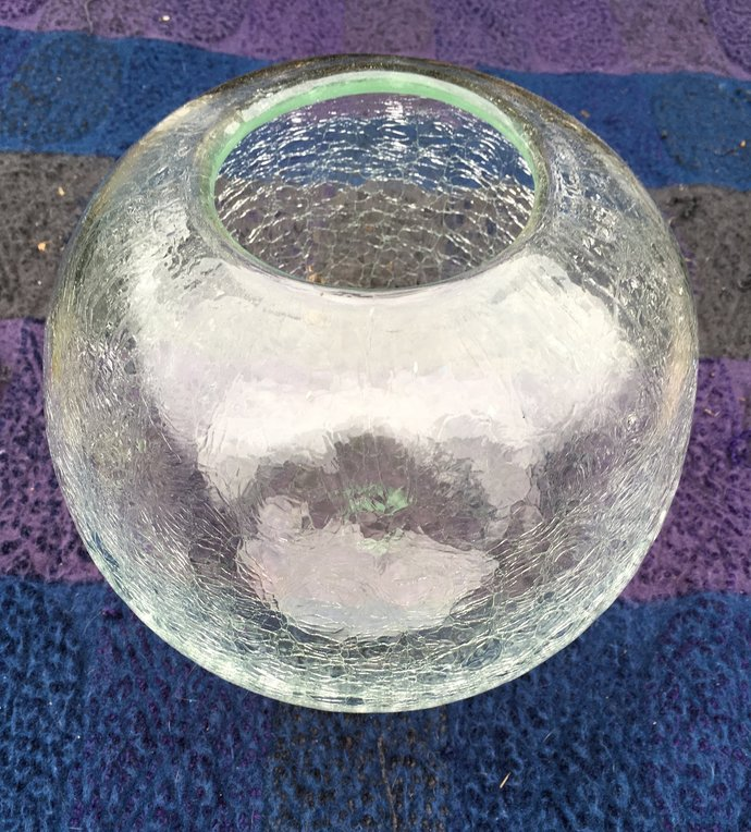 Clear Crackle Glass Vase Bowl By Wright Brothers Relics On Zibbet