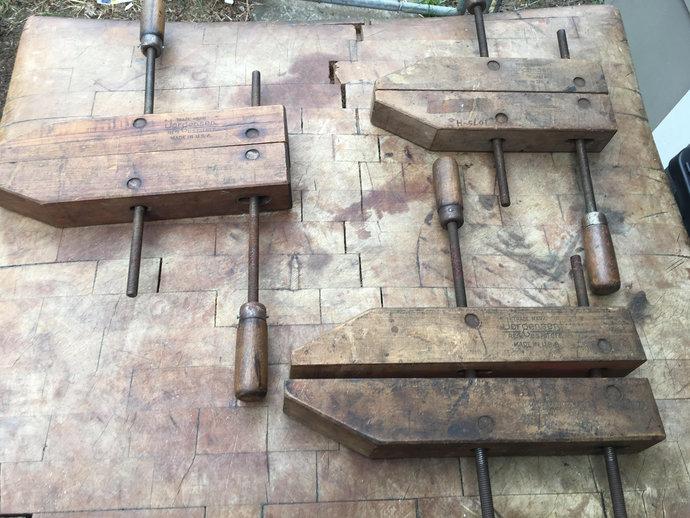 Set of 3 Antique Jorgensen Wood/Metal Clamps