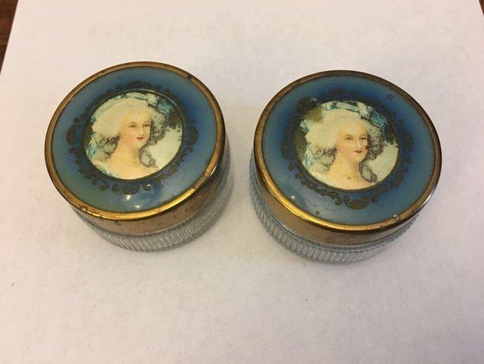 Vintage Victorian Era Glass Powder/Trinket Jars