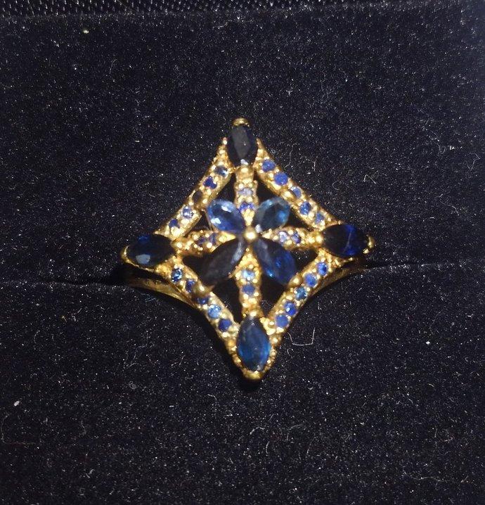 Vintage Black Sapphire and Diamond Ring