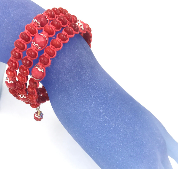 Red Bamboo Coral Wrap Bracelet
