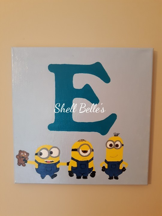 minion inspired initial painting by shell belle s arts on zibbet