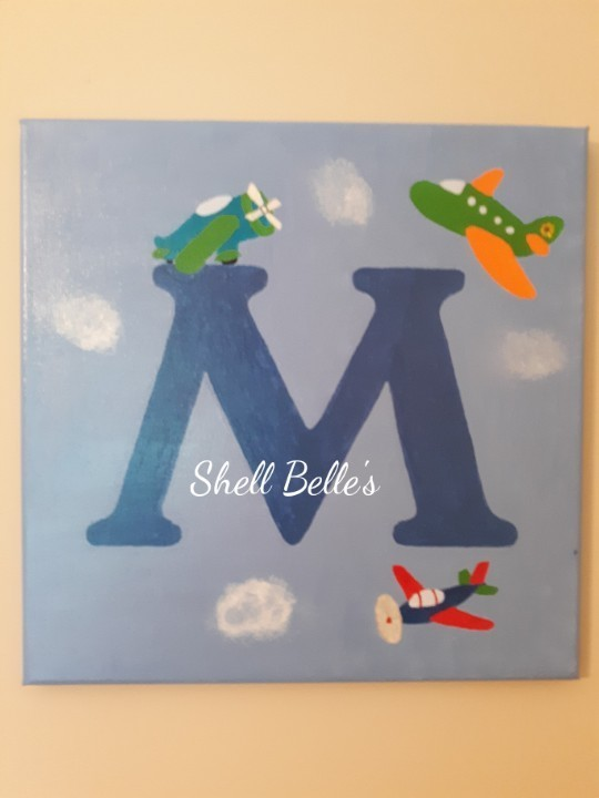 plane initial letter painting by shell belle s arts on zibbet