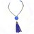 SOLD-Long Beaded Necklace, Handcrafted Blue Bead Necklace, Blue Tassel Pendant,
