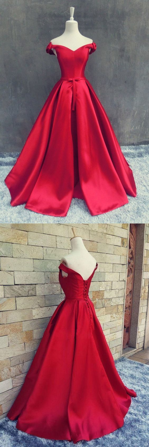 Red Off Shoulder Long Formal Gown, Red Prom Dress 2019