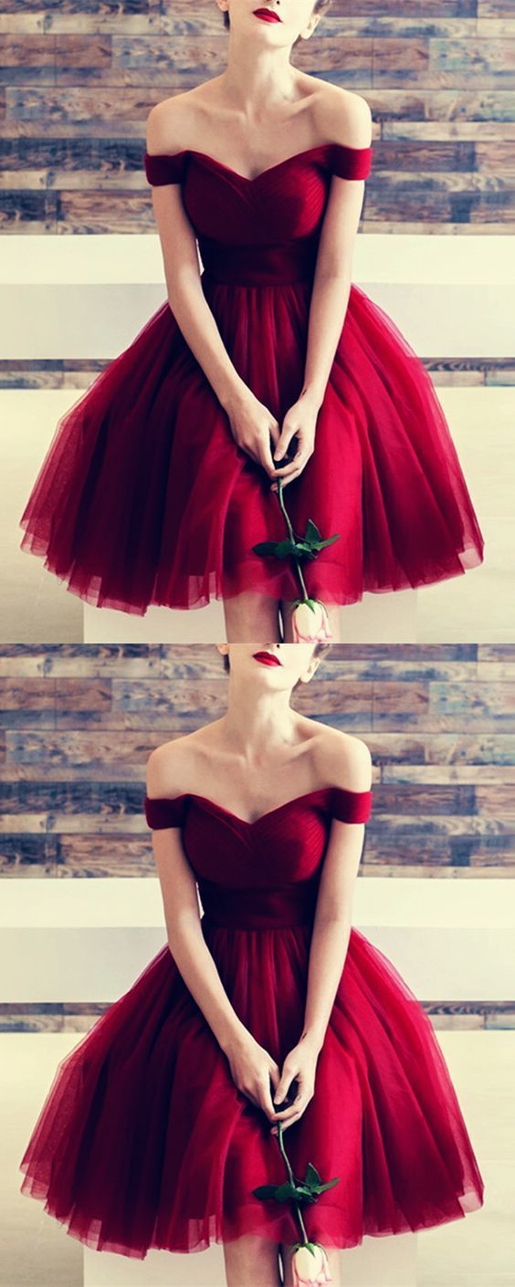 Burgundy Off Shoulder Short Tulle Homecoming Dress, Wine Red Prom Dress 2019