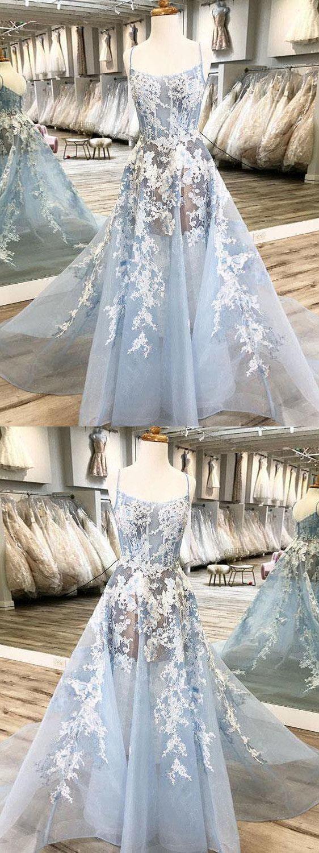CHIC A-LINE SPAGHETTI STRAPS LACE PROM DRESSES UNIQUE BLUE LONG PROM DRESS