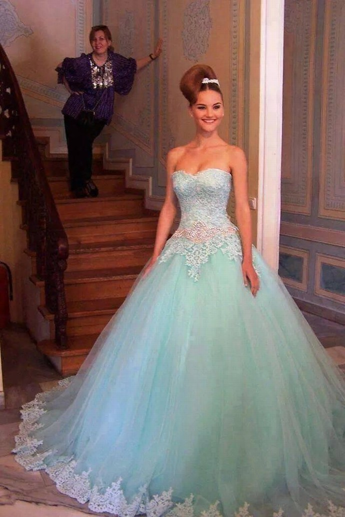 Gergeous Strapless Appliques Ball Gowns, Sexy Tulle Quinceanera Dresses, Formal