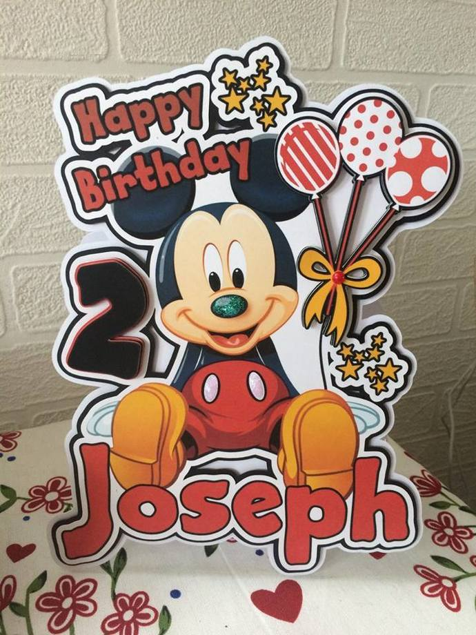 Mickey Mouse Birthday card, Disney birthday card, 1st birthday card,