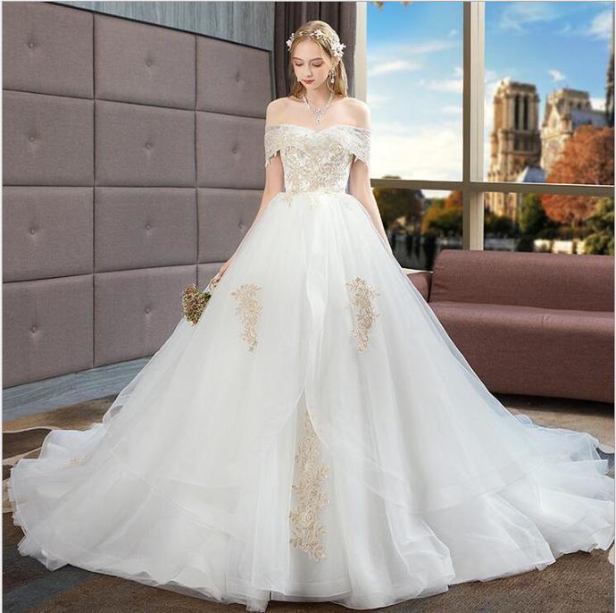 388c74982 A Line White Organza China Wedding Dresses Custom Made Bridal Gowns Sweep  Train