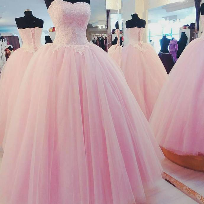 pink tulle prom dress ball gowns,prom dresses ,quinceanera dresses,ball gowns