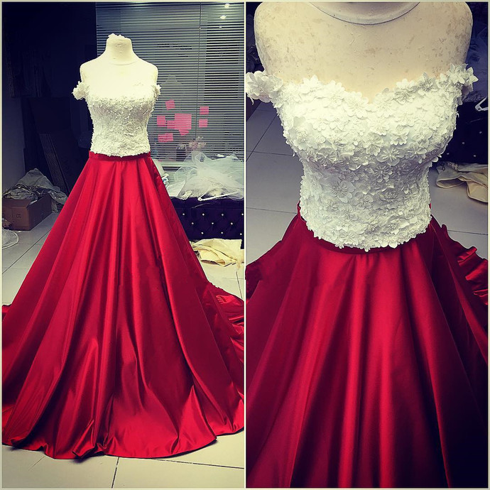 two piece prom dress,ball gowns dress,lace appliques prom dress,ball gowns prom