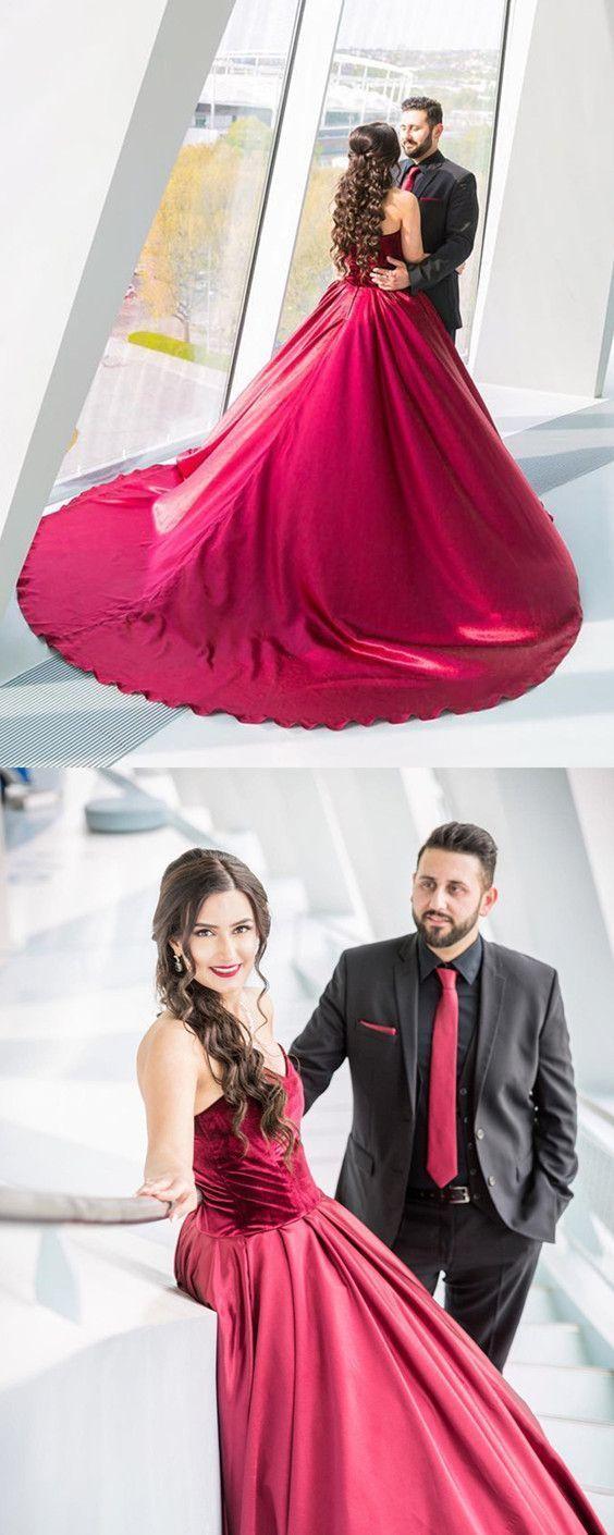 Velvet Sweetheart Satin Ball Gowns Burgundy Wedding Dresses