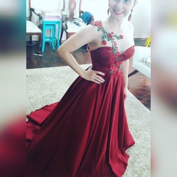 Burgundy Illusion Sweetheart Ball Gown Prom by prom dresses