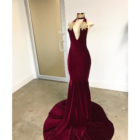 Burgundy Velvet Prom Dresses,High Neck Sexy by prom dresses