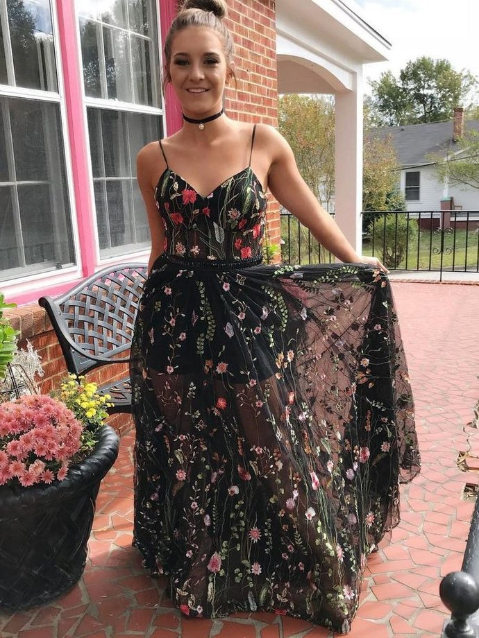 Embroidered Prom Dress,A-Line Prom Gown,Tulle Prom Dress,Spaghetti Straps Prom