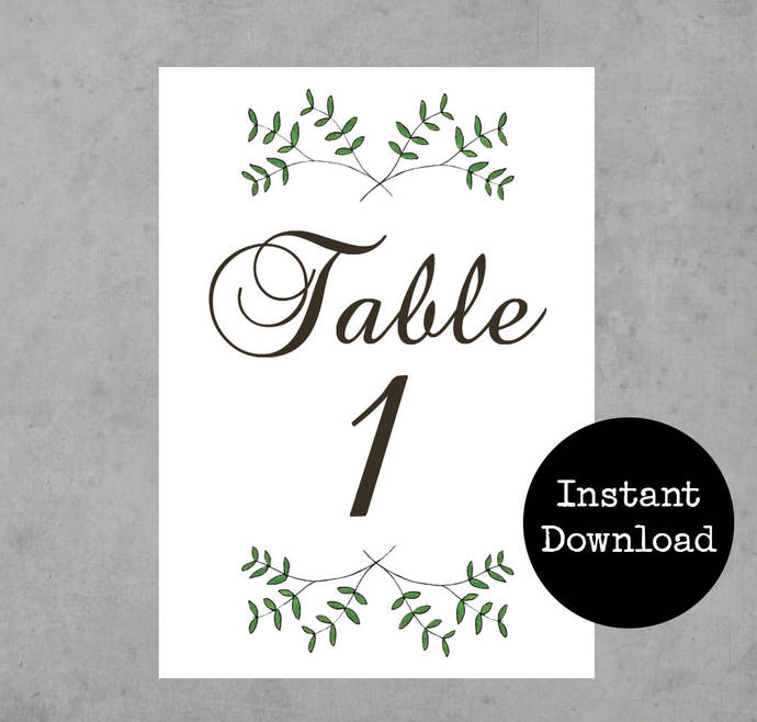 Rustic Wedding Table Numbers Printable Wedding