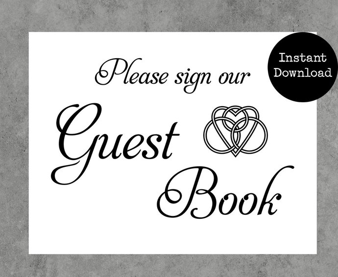 Celtic Knot Printable Guest Book Sign By Beaconsfield Cards On Zibbet