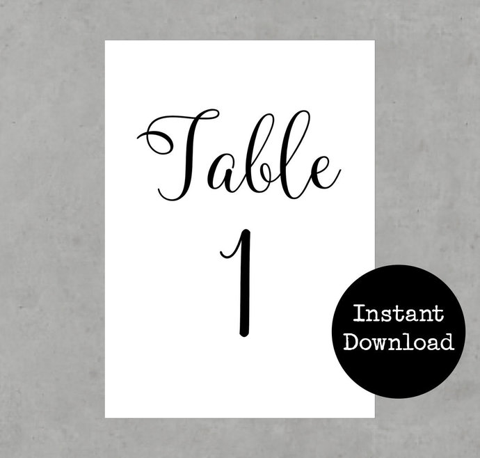 Printable Table Numbers with Calligraphy Script Font 1 to 30