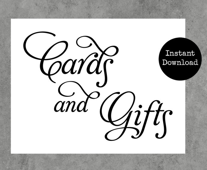 Wedding Sign Cards and Gifts with Elegant Script