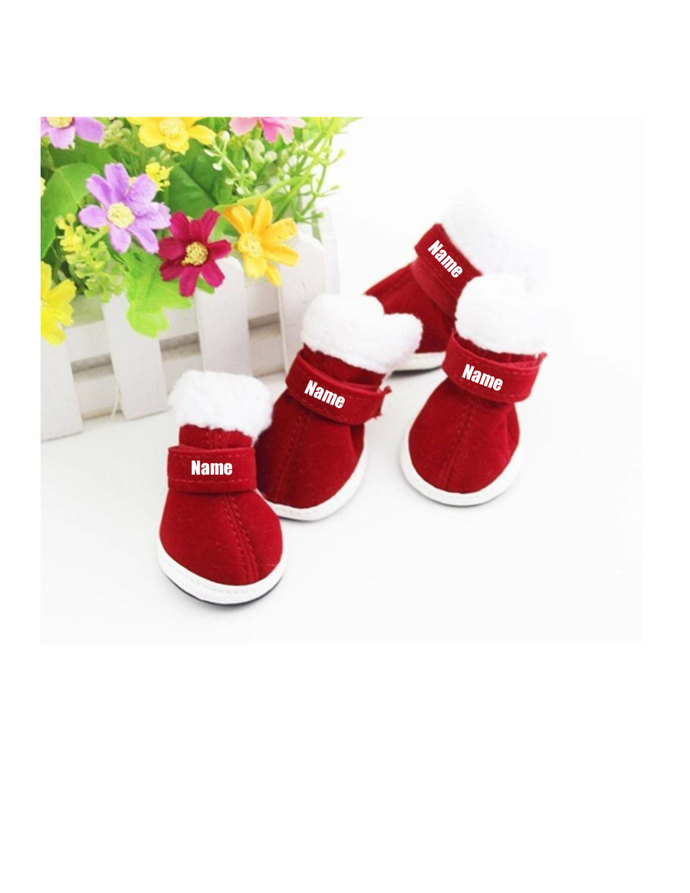 Custom Personalize Design Your Puppy Dog Christmas Shoes Booties Boots (pet