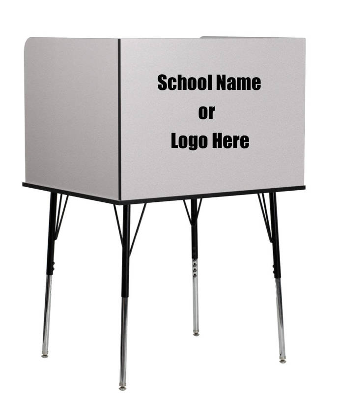 Custom Designed Study Carrel With Your Personalized Text, Logo or School Name