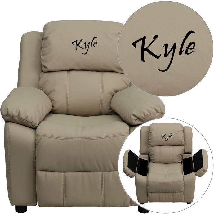 Custom Designed Kids Recliner with Storage Arms and Headrest With Your
