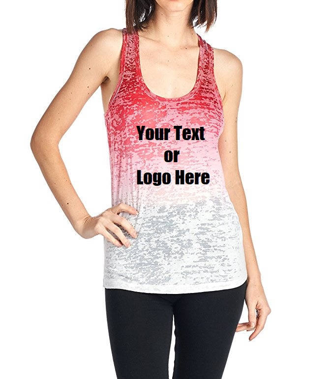 83f97705f8bbe2 Custom Personalized Designed Women s Ombre Burnout Workout Tank Tops