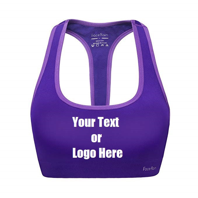 Custom Personalized Designed Workout Sports Bra Removeable Pads Raceback Medium