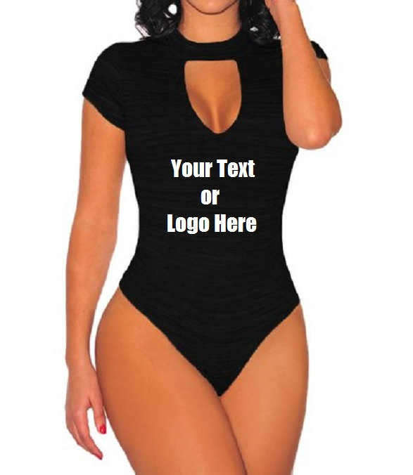 Custom Personalized Designed Womens Sexy Strappy Deep V Neck Cut Out Bodysuit