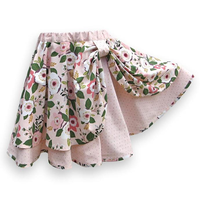 Girl's Circle Skirt, Pink Floral