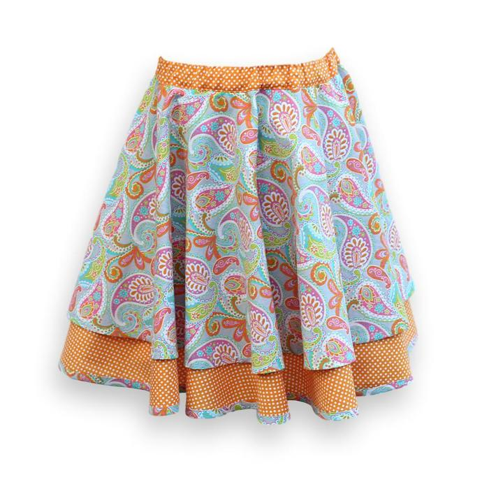 Girl's Circle Skirt, Orange Gray Paisley