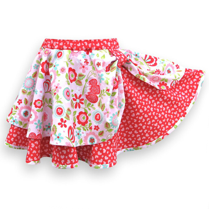 Full Circle Skirt, Layered With Pull-On Elastic Waist. Child's Size 4T