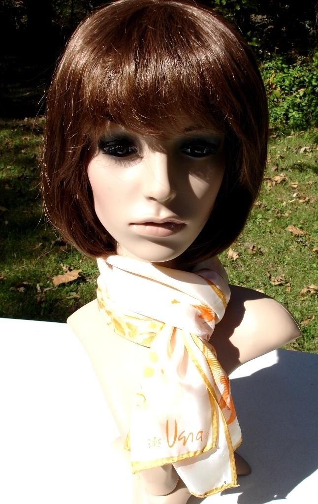 Vera Neumann Shades Of Gold And Orange Flowers On White Ladybug Scarf