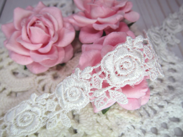 "Venice Lace Elegant Rose Applique Flower  - 1"" Ivory"
