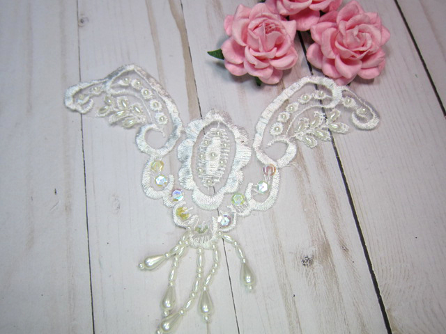 Bridal Wedding Embroidered Sequin Beaded Dangle Organza Winged Medallion