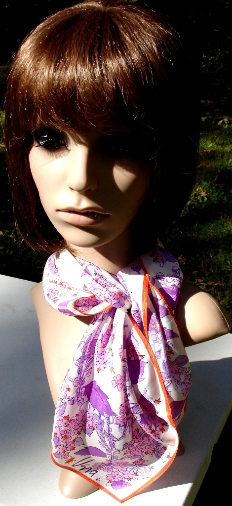 Vera Neumann Lilacs In Purple Pink Orange And White Scarf With Ladybug