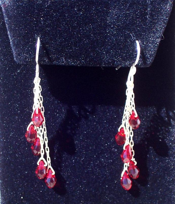Swarovski Crystal Earrings - Red Drop Cascade