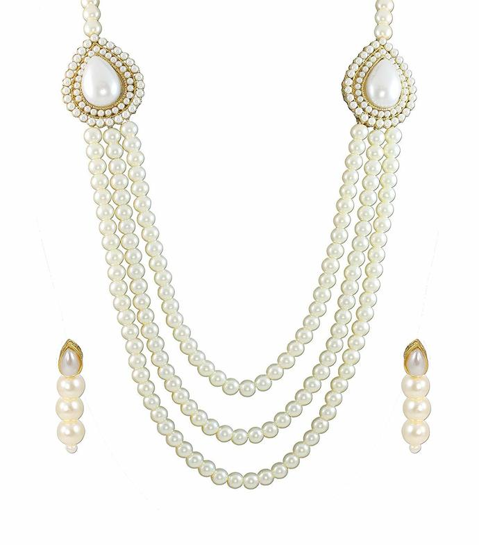 Zaveri Pearls Grand Queen Necklace Set for Women (White)